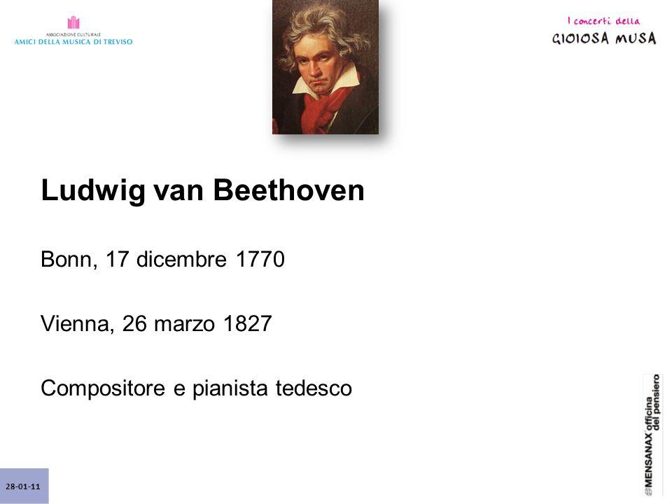 Ludwig van Beethoven Bonn, 17 dicembre 1770 Vienna, 26 marzo 1827 Compositore e pianista tedesco