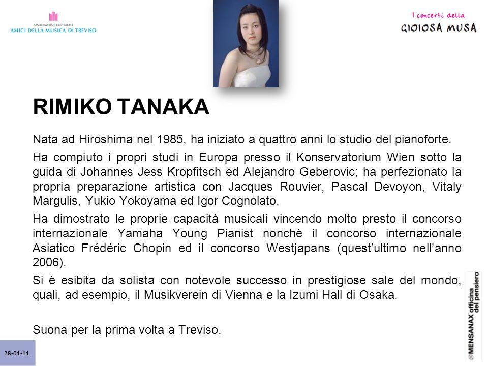 28-01-11 RIMIKO TANAKA Nata ad Hiroshima nel 1985, ha iniziato a quattro anni lo studio del pianoforte.