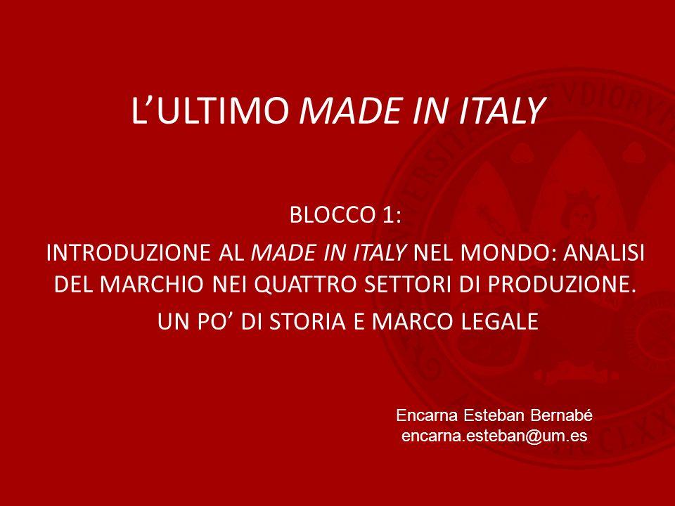 L'ULTIMO MADE IN ITALY BLOCCO 1: INTRODUZIONE AL MADE IN ITALY NEL MONDO: ANALISI DEL MARCHIO NEI QUATTRO SETTORI DI PRODUZIONE. UN PO' DI STORIA E MA