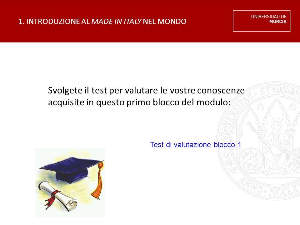 1. INTRODUZIONE AL MADE IN ITALY NEL MONDO Svolgete il test per valutare le vostre conoscenze acquisite in questo primo blocco del modulo: Test di val