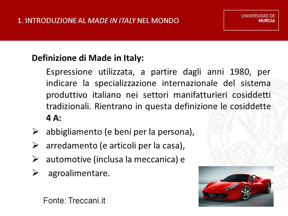 1. INTRODUZIONE AL MADE IN ITALY NEL MONDO Definizione di Made in Italy: Espressione utilizzata, a partire dagli anni 1980, per indicare la specializz