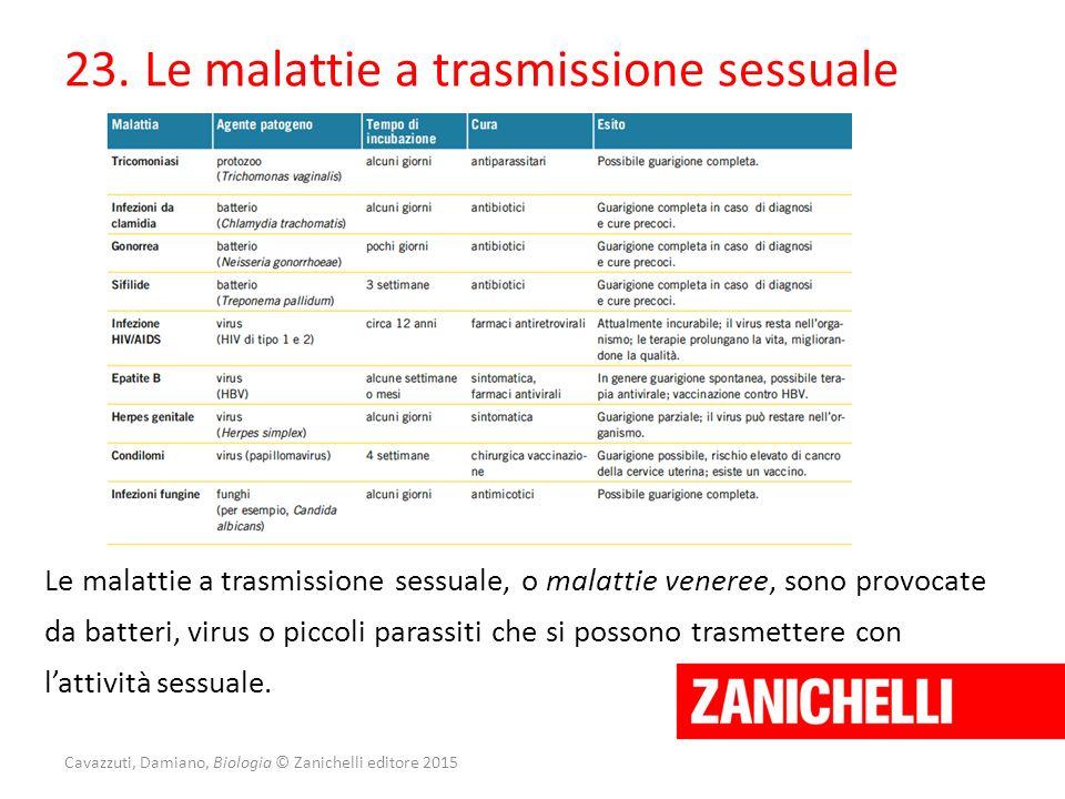 Cavazzuti, Damiano, Biologia © Zanichelli editore 2015 23. Le malattie a trasmissione sessuale Le malattie a trasmissione sessuale, o malattie veneree