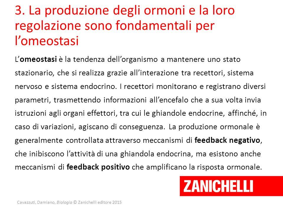 Cavazzuti, Damiano, Biologia © Zanichelli editore 2015 3. La produzione degli ormoni e la loro regolazione sono fondamentali per l'omeostasi L'omeosta