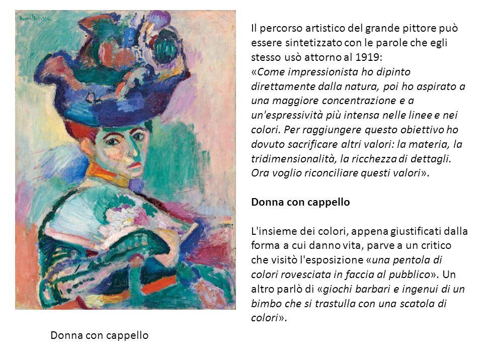 Donna con cappello Il percorso artistico del grande pittore può essere sintetizzato con le parole che egli stesso usò attorno al 1919: «Come impressionista ho dipinto direttamente dalla natura, poi ho aspirato a una maggiore concentrazione e a un espressività più intensa nelle linee e nei colori.
