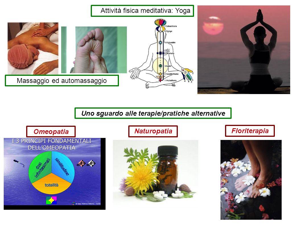 Attività fisica meditativa: Yoga Massaggio ed automassaggio Uno sguardo alle terapie/pratiche alternative Omeopatia Naturopatia Floriterapia