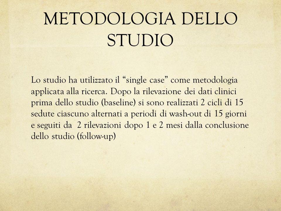 """METODOLOGIA DELLO STUDIO Lo studio ha utilizzato il """"single case"""" come metodologia applicata alla ricerca. Dopo la rilevazione dei dati clinici prima"""