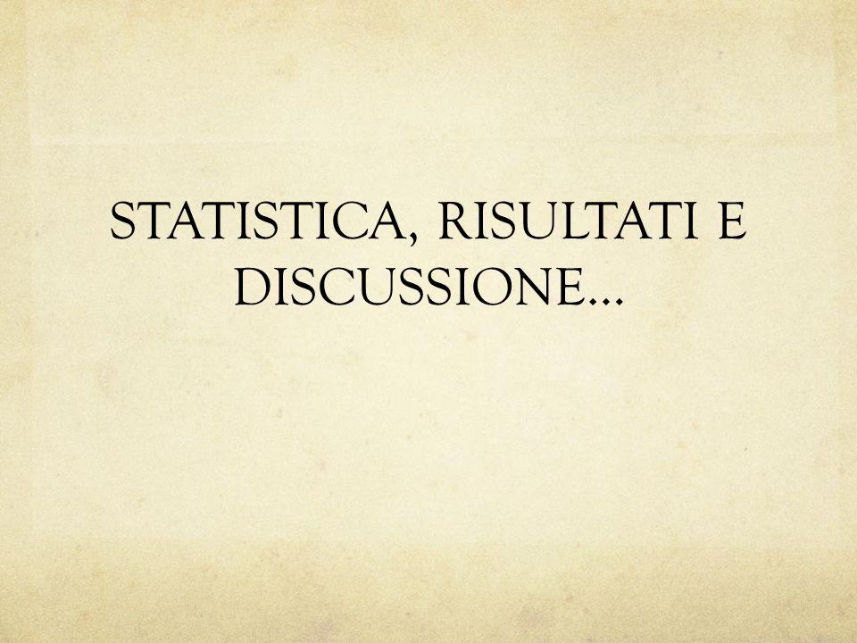 STATISTICA, RISULTATI E DISCUSSIONE…