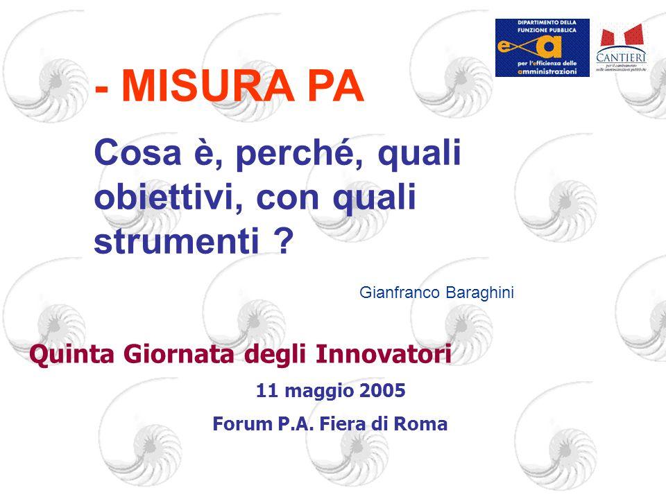 Quinta Giornata degli Innovatori 11 maggio 2005 Forum P.A.
