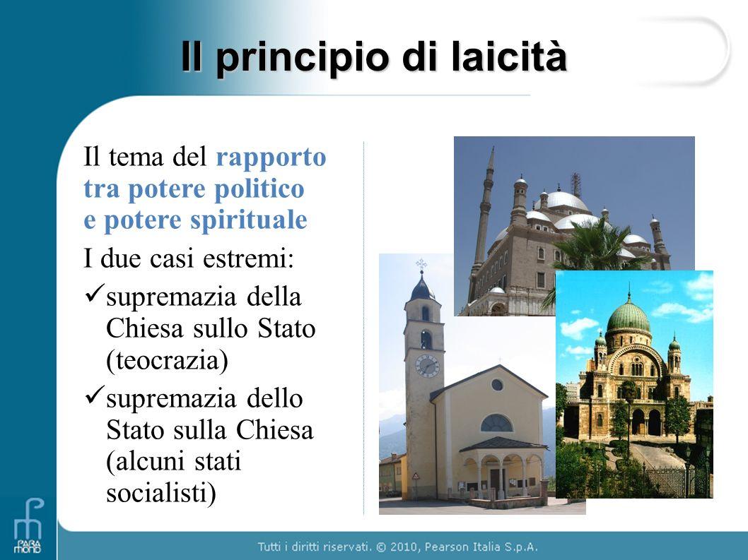 Il principio di laicità Il tema del rapporto tra potere politico e potere spirituale I due casi estremi: supremazia della Chiesa sullo Stato (teocrazi