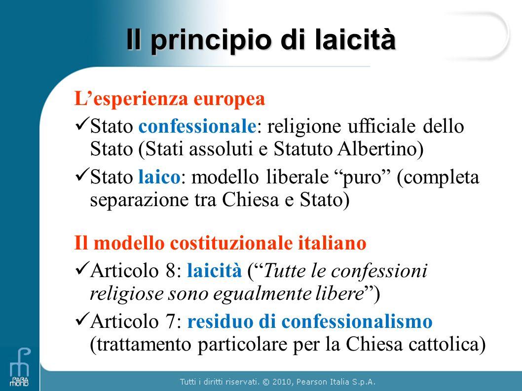"""L'esperienza europea Stato confessionale: religione ufficiale dello Stato (Stati assoluti e Statuto Albertino) Stato laico: modello liberale """"puro"""" (c"""