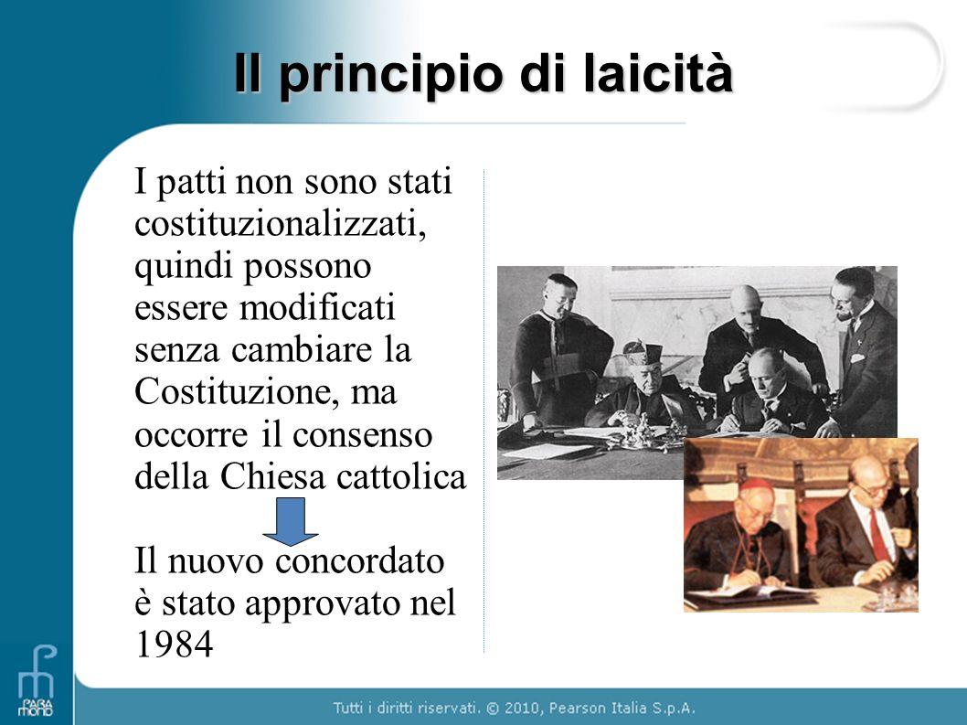 I patti non sono stati costituzionalizzati, quindi possono essere modificati senza cambiare la Costituzione, ma occorre il consenso della Chiesa catto