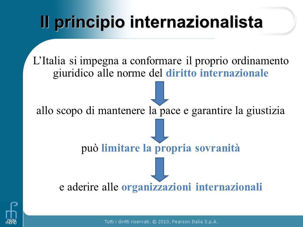Il principio internazionalista L'Italia si impegna a conformare il proprio ordinamento giuridico alle norme del diritto internazionale allo scopo di m