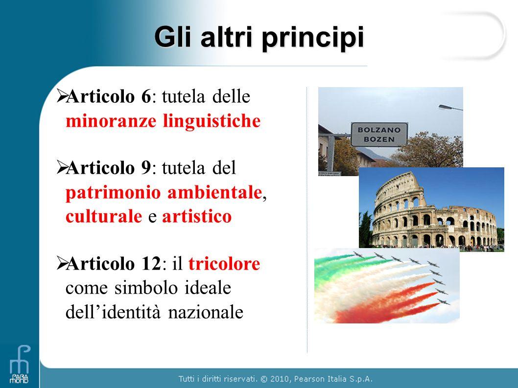 Gli altri principi  Articolo 6: tutela delle minoranze linguistiche  Articolo 9: tutela del patrimonio ambientale, culturale e artistico  Articolo