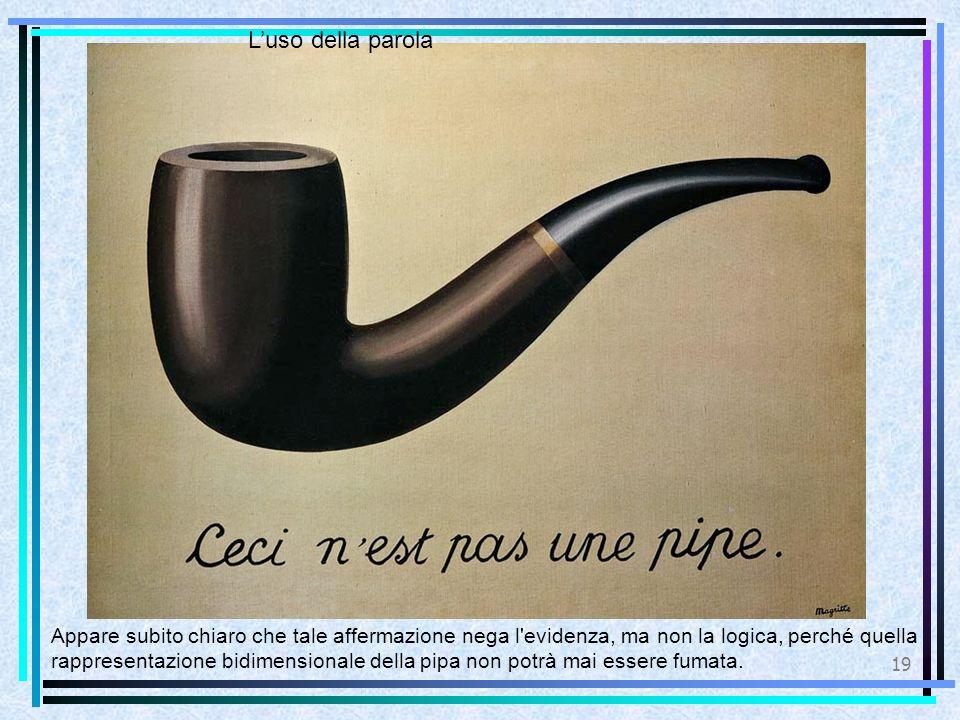 19 L'uso della parola Appare subito chiaro che tale affermazione nega l evidenza, ma non la logica, perché quella rappresentazione bidimensionale della pipa non potrà mai essere fumata.