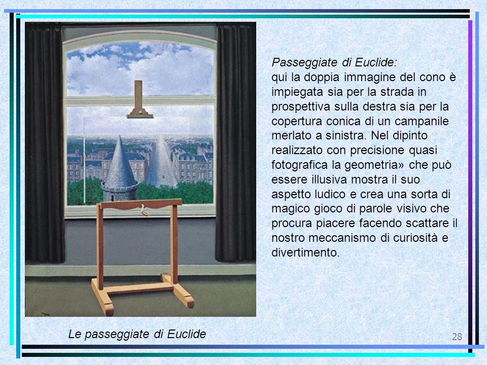 28 Le passeggiate di Euclide Passeggiate di Euclide: qui la doppia immagine del cono è impiegata sia per la strada in prospettiva sulla destra sia per la copertura conica di un campanile merlato a sinistra.