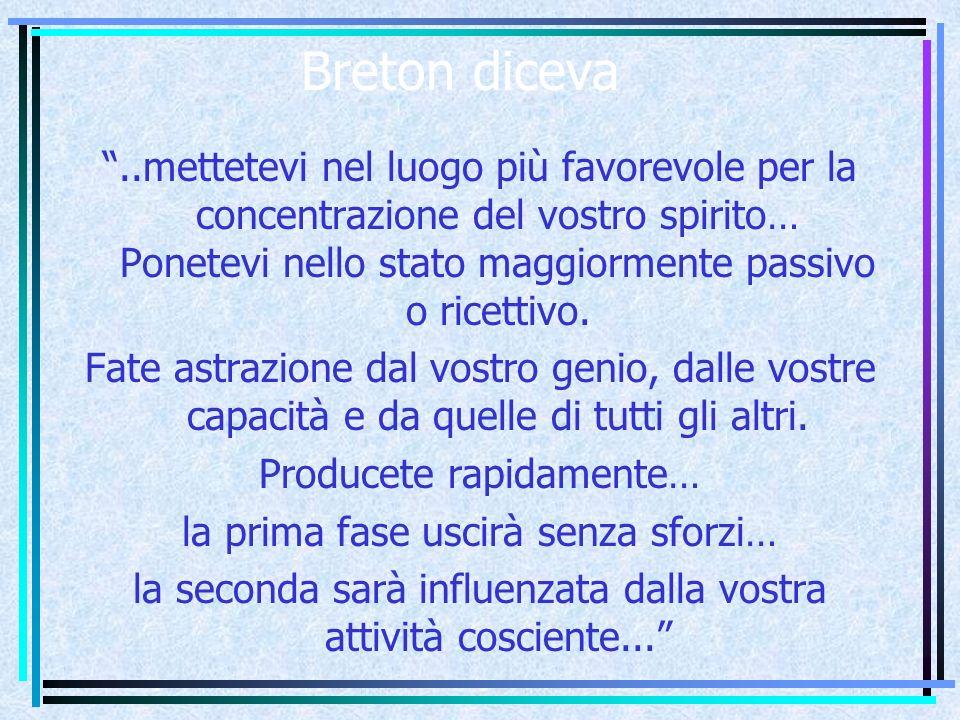 Breton diceva ..mettetevi nel luogo più favorevole per la concentrazione del vostro spirito… Ponetevi nello stato maggiormente passivo o ricettivo.