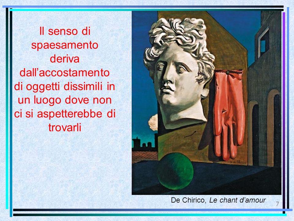 7 De Chirico, Le chant d'amour Il senso di spaesamento deriva dall'accostamento di oggetti dissimili in un luogo dove non ci si aspetterebbe di trovar