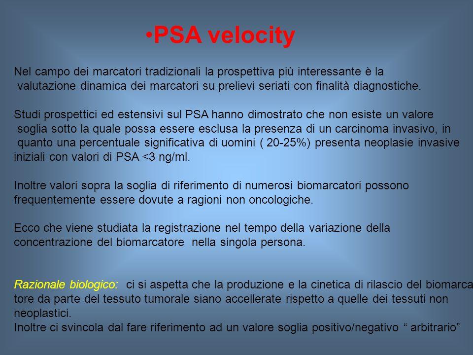 PSA velocity Nel campo dei marcatori tradizionali la prospettiva più interessante è la valutazione dinamica dei marcatori su prelievi seriati con finalità diagnostiche.