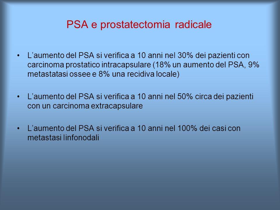 L'aumento del PSA si verifica a 10 anni neI 30% dei pazienti con carcinoma prostatico intracapsulare (18% un aumento del PSA, 9% metastatasi ossee e 8