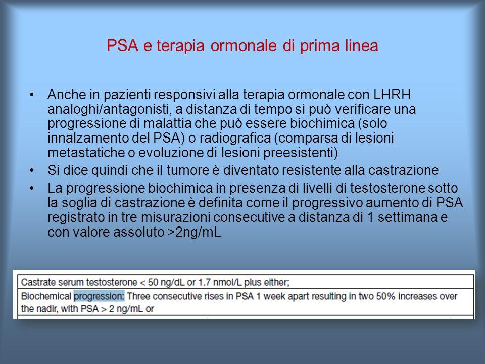 PSA e terapia ormonale di prima linea Anche in pazienti responsivi alla terapia ormonale con LHRH analoghi/antagonisti, a distanza di tempo si può verificare una progressione di malattia che può essere biochimica (solo innalzamento del PSA) o radiografica (comparsa di lesioni metastatiche o evoluzione di lesioni preesistenti) Si dice quindi che il tumore è diventato resistente alla castrazione La progressione biochimica in presenza di livelli di testosterone sotto la soglia di castrazione è definita come il progressivo aumento di PSA registrato in tre misurazioni consecutive a distanza di 1 settimana e con valore assoluto >2ng/mL
