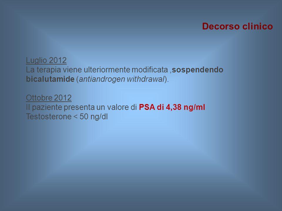 Luglio 2012 La terapia viene ulteriormente modificata,sospendendo bicalutamide (antiandrogen withdrawal). Ottobre 2012 Il paziente presenta un valore