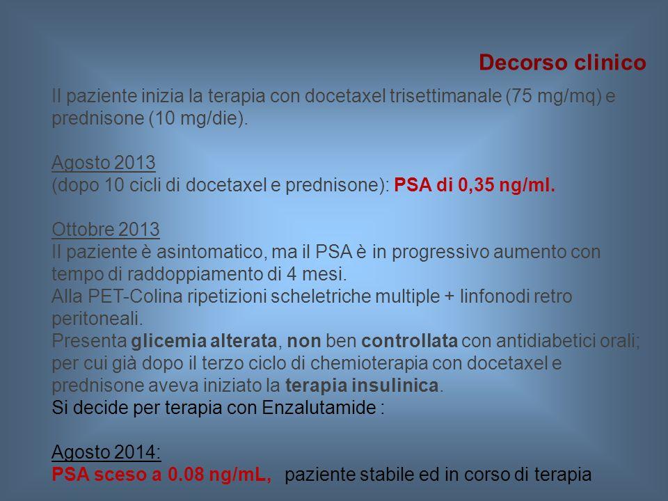 Il paziente inizia la terapia con docetaxel trisettimanale (75 mg/mq) e prednisone (10 mg/die). Agosto 2013 (dopo 10 cicli di docetaxel e prednisone):