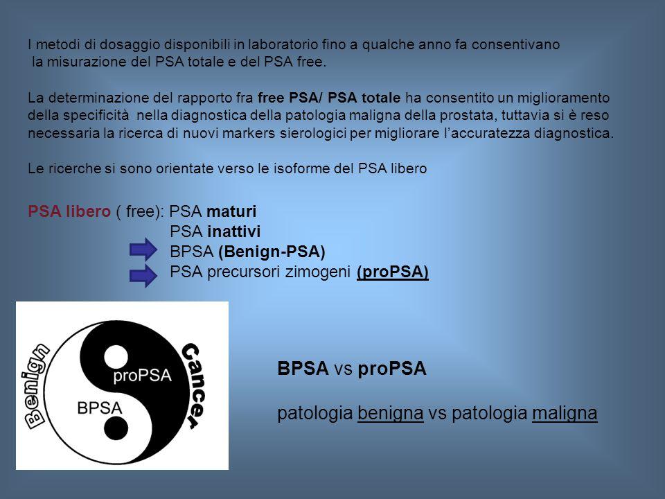 I metodi di dosaggio disponibili in laboratorio fino a qualche anno fa consentivano la misurazione del PSA totale e del PSA free. La determinazione de