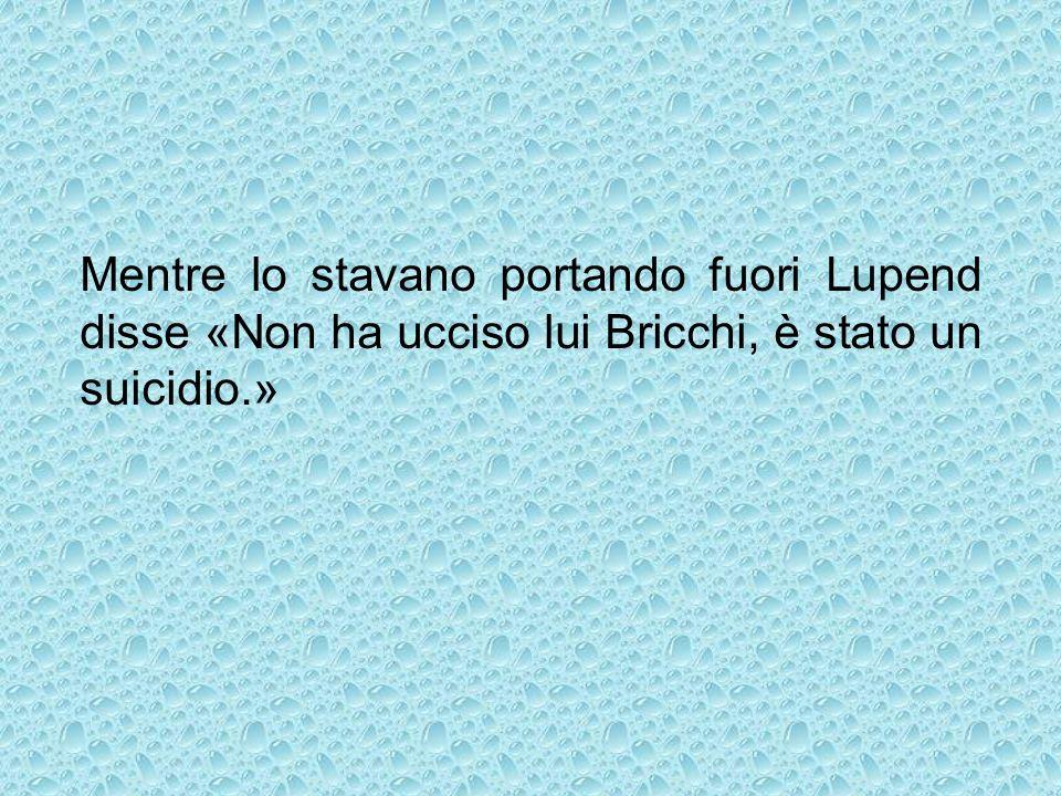 Mentre lo stavano portando fuori Lupend disse «Non ha ucciso lui Bricchi, è stato un suicidio.»