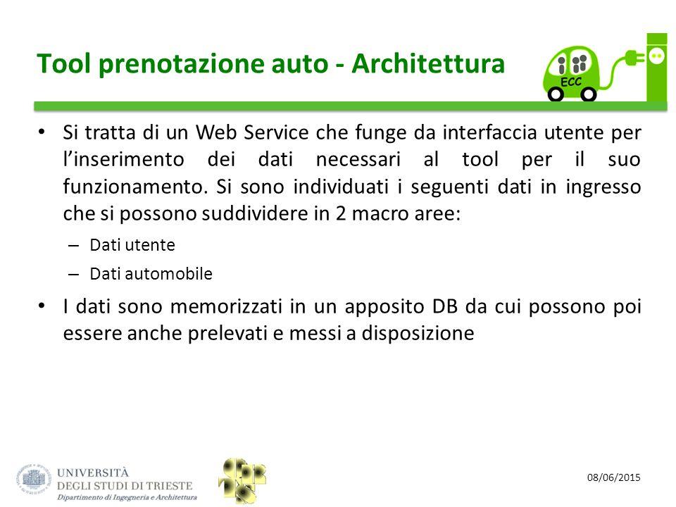 08/06/2015 Tool prenotazione auto - Architettura Si tratta di un Web Service che funge da interfaccia utente per l'inserimento dei dati necessari al t