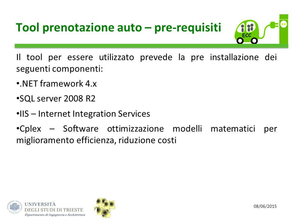 08/06/2015 Tool prenotazione auto – pre-requisiti Il tool per essere utilizzato prevede la pre installazione dei seguenti componenti:.NET framework 4.