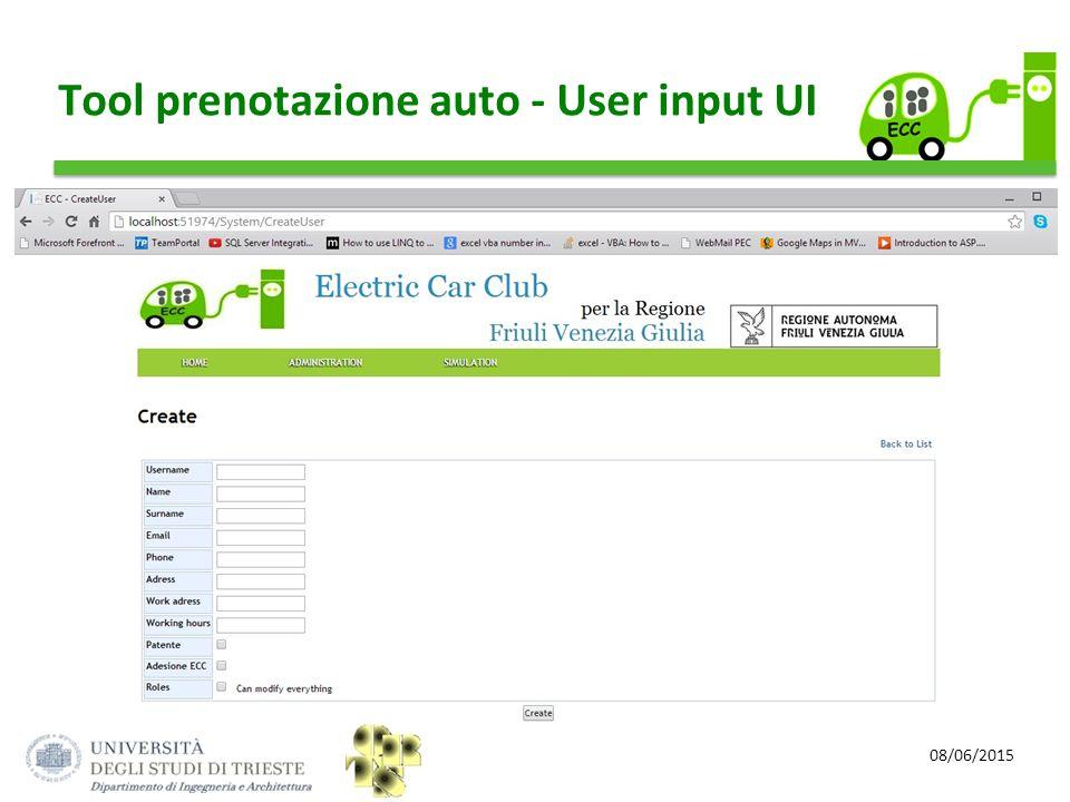 08/06/2015 Tool prenotazione auto - User input UI