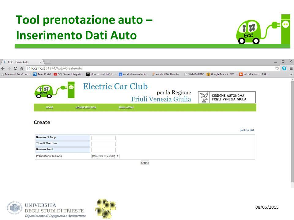08/06/2015 Tool prenotazione auto – Inserimento Dati Auto