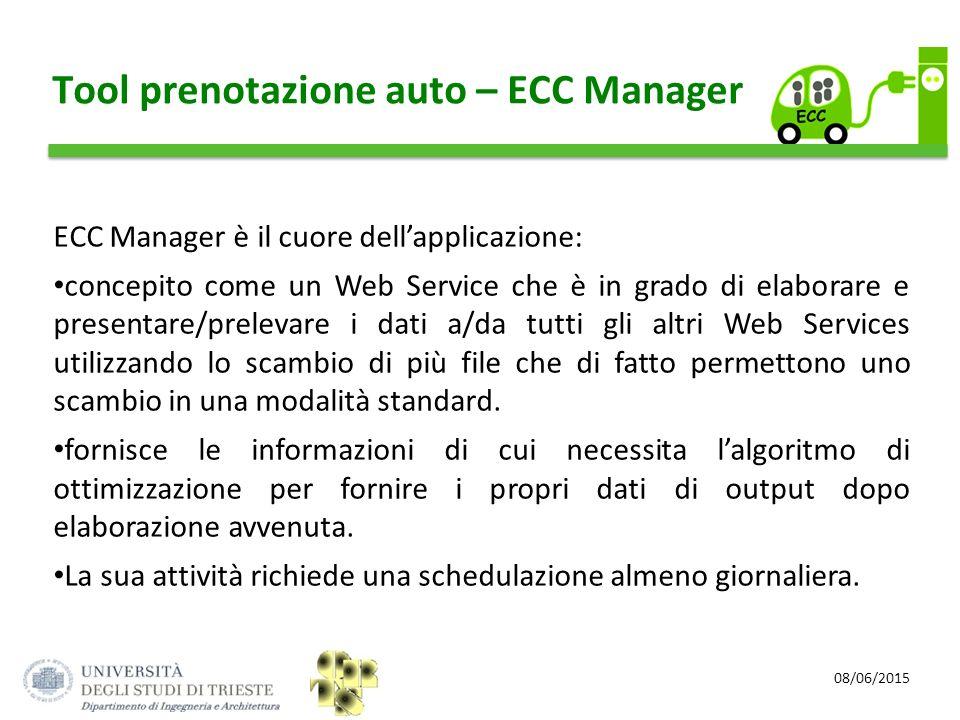 08/06/2015 Tool prenotazione auto – ECC Manager ECC Manager è il cuore dell'applicazione: concepito come un Web Service che è in grado di elaborare e