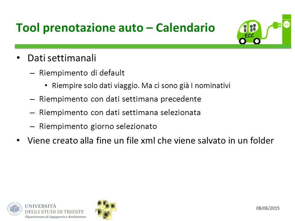 08/06/2015 Tool prenotazione auto – Calendario Dati settimanali – Riempimento di default Riempire solo dati viaggio. Ma ci sono già I nominativi – Rie