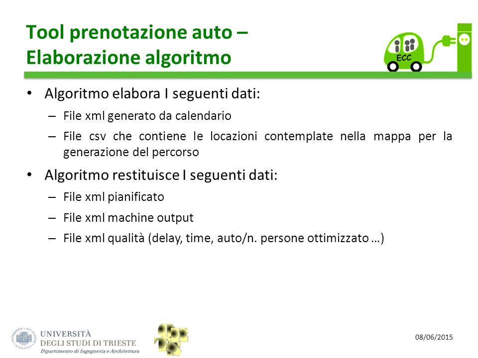 08/06/2015 Tool prenotazione auto – Elaborazione algoritmo Algoritmo elabora I seguenti dati: – File xml generato da calendario – File csv che contien