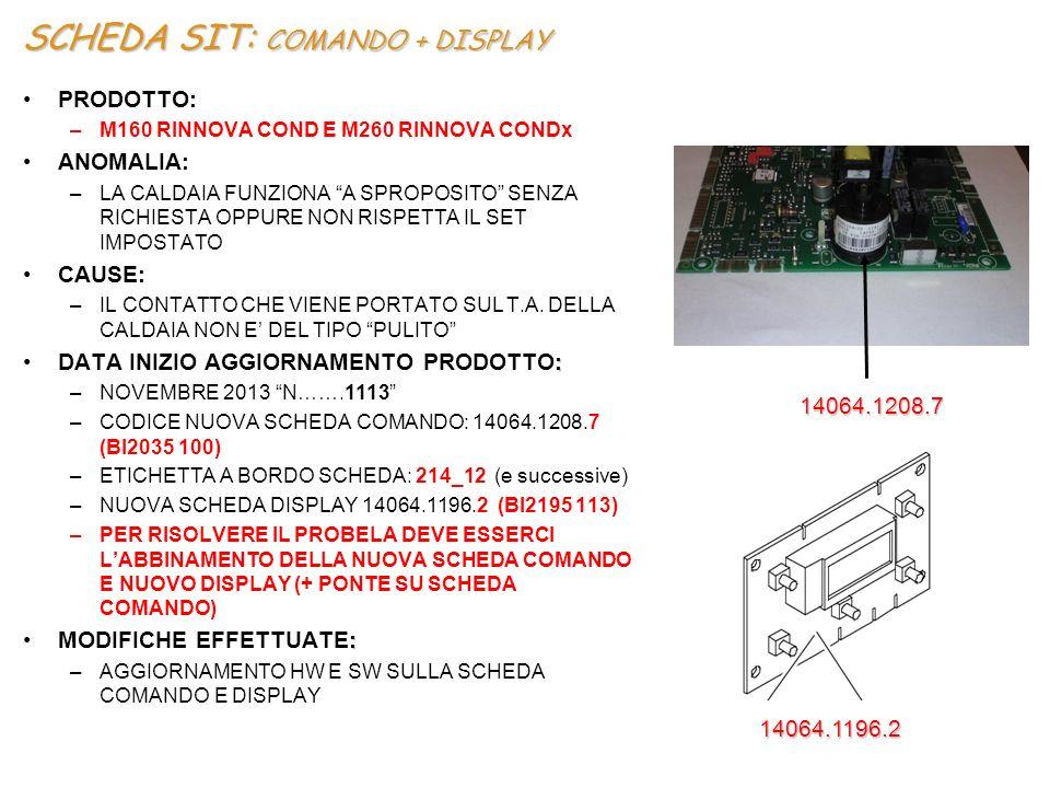SCHEDA COMANDO SIT+SCHEDA DISPLAY ATTENZIONE LA SCHEDA DISPLAY 14064.1196.2 (BI2195 113) PUO' ESSERE INSTALLATA SOLO CON LA SCHEDA COMANDO (O VERSIONE SUPERIORE)LA SCHEDA DISPLAY 14064.1196.2 (BI2195 113) PUO' ESSERE INSTALLATA SOLO CON LA SCHEDA COMANDO 14064.1208.7 (O VERSIONE SUPERIORE)