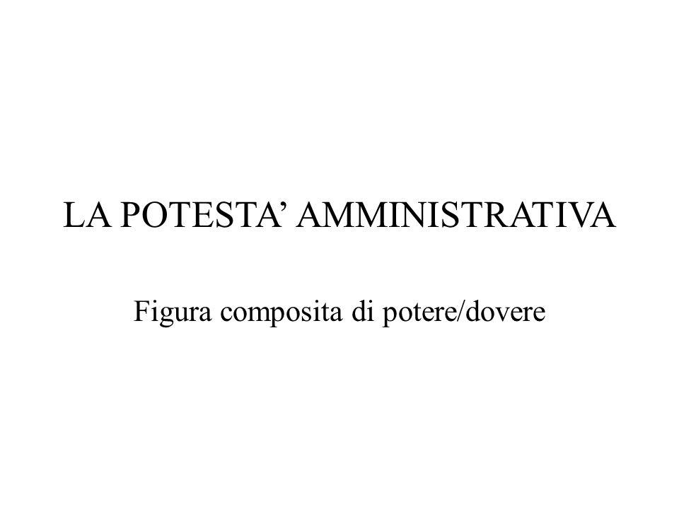 LA POTESTA' AMMINISTRATIVA Figura composita di potere/dovere