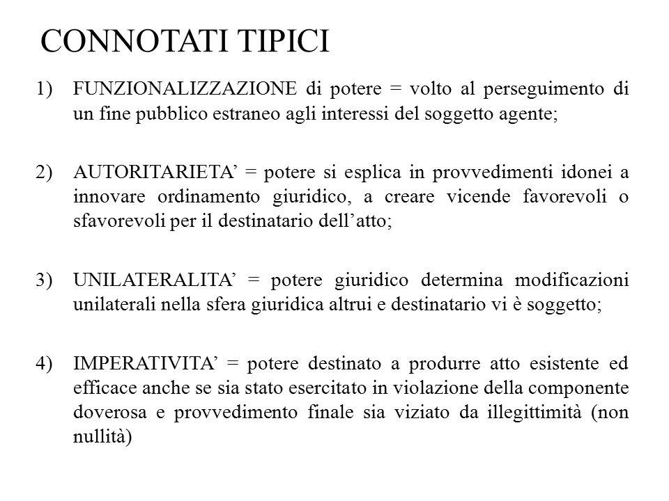CONNOTATI TIPICI 1)FUNZIONALIZZAZIONE di potere = volto al perseguimento di un fine pubblico estraneo agli interessi del soggetto agente; 2)AUTORITARI