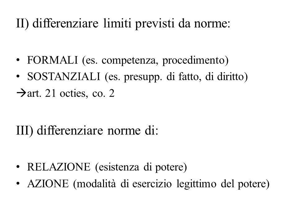 II) differenziare limiti previsti da norme: FORMALI (es. competenza, procedimento) SOSTANZIALI (es. presupp. di fatto, di diritto)  art. 21 octies, c