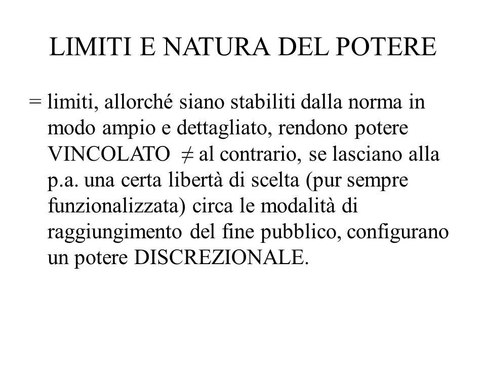 LIMITI E NATURA DEL POTERE = limiti, allorché siano stabiliti dalla norma in modo ampio e dettagliato, rendono potere VINCOLATO ≠ al contrario, se las