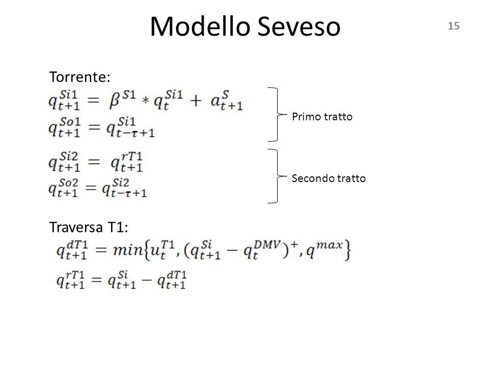 Modello Seveso 15 Torrente: Traversa T1: Primo tratto Secondo tratto