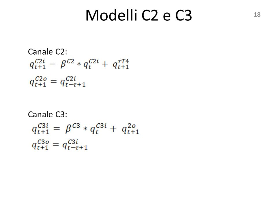 Modelli C2 e C3 18 Canale C2: Canale C3: