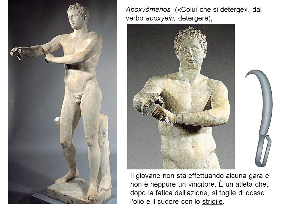 Apoxyòmenos («Colui che si deterge», dal verbo apoxyein, detergere), Il giovane non sta effettuando alcuna gara e non è neppure un vincitore.