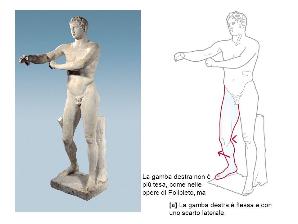 [a] La gamba destra è flessa e con uno scarto laterale. La gamba destra non è più tesa, come nelle opere di Policleto, ma