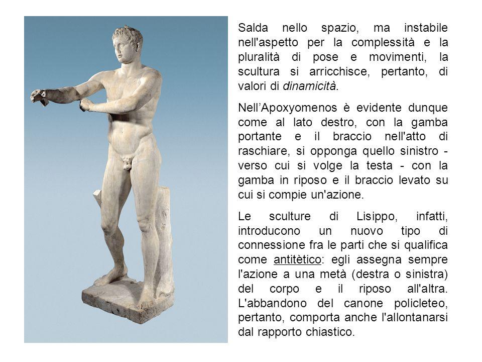 Salda nello spazio, ma instabile nell'aspetto per la complessità e la pluralità di pose e movimenti, la scultura si arricchisce, pertanto, di valori d