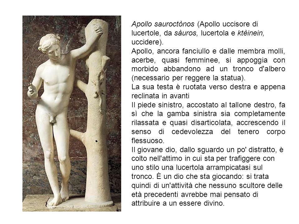 Apollo sauroctònos (Apollo uccisore di lucertole, da sàuros, lucertola e ktèinein, uccidere). Apollo, ancora fanciullo e dalle membra molli, acerbe, q