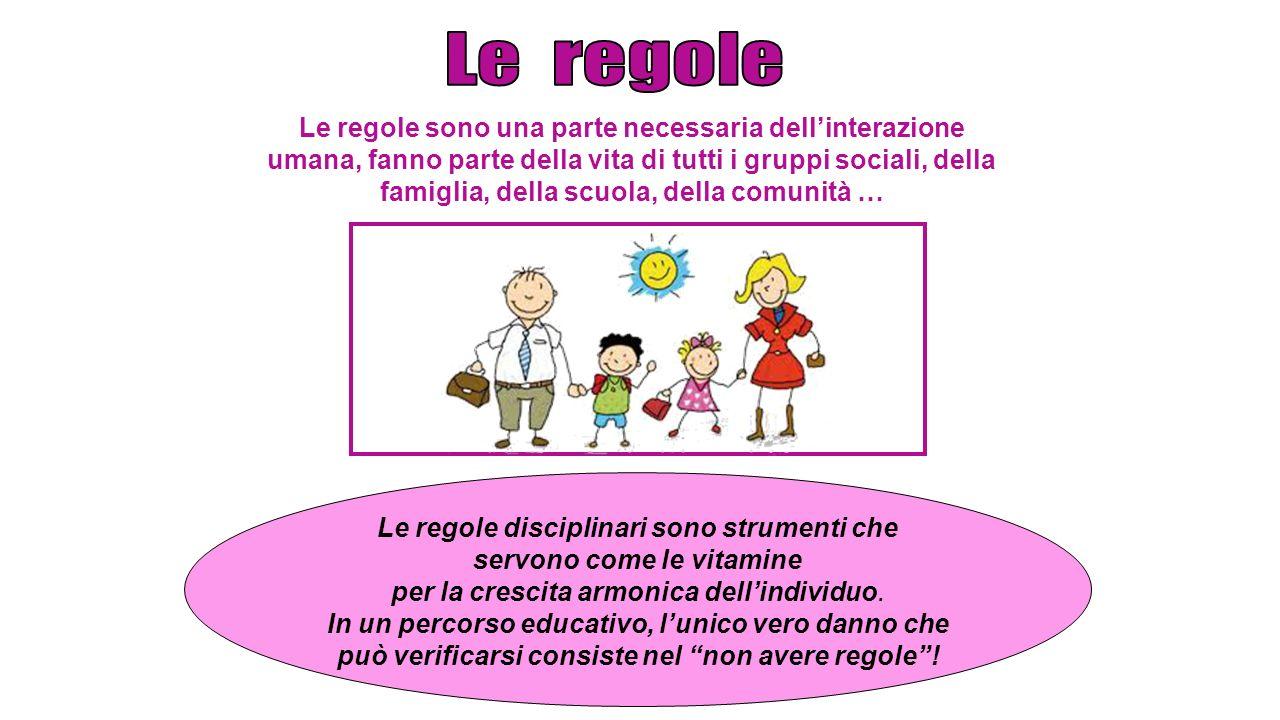 Le regole sono una parte necessaria dell'interazione umana, fanno parte della vita di tutti i gruppi sociali, della famiglia, della scuola, della comu