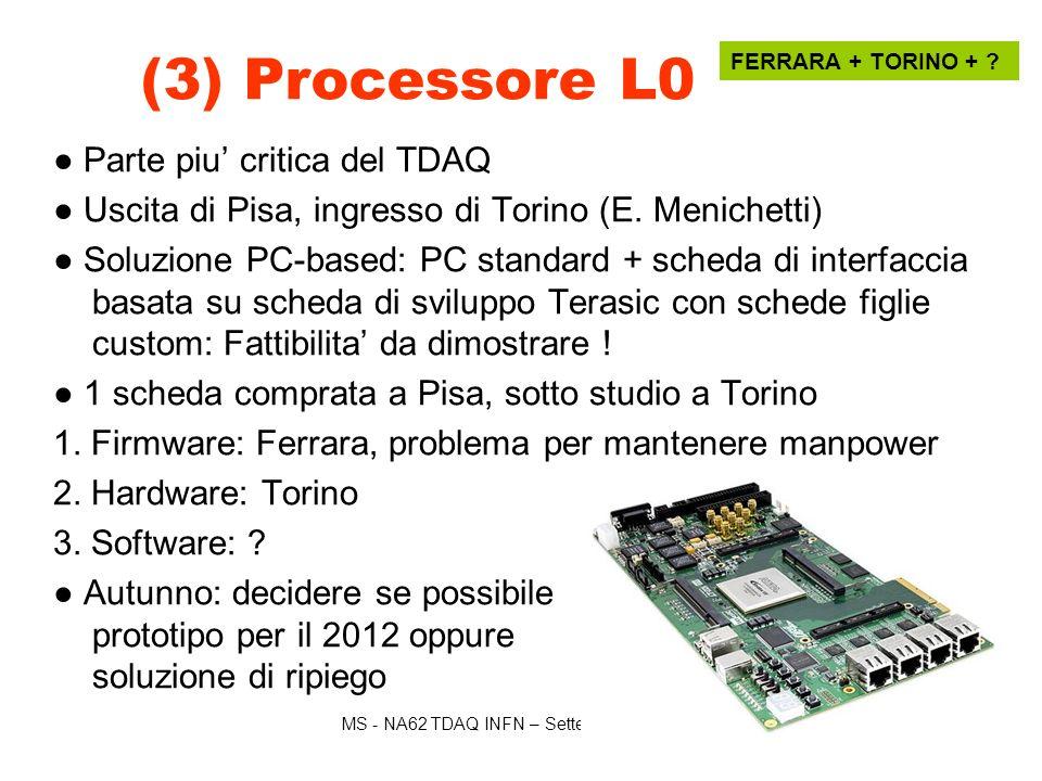 MS - NA62 TDAQ INFN – Settembre 2011 Manca ancora il lavoro di simulazione MC (4) Trigger L0 LKr ROMA 2 3 schede figlie per TEL62: Interfaccia LKr: disegno in 2011-2012, dipende da R/O LKr CERN Trigger&RO TX: prodotta, in test Trigger RX: prodotta, testata 3 crates Manca la simulazione MC