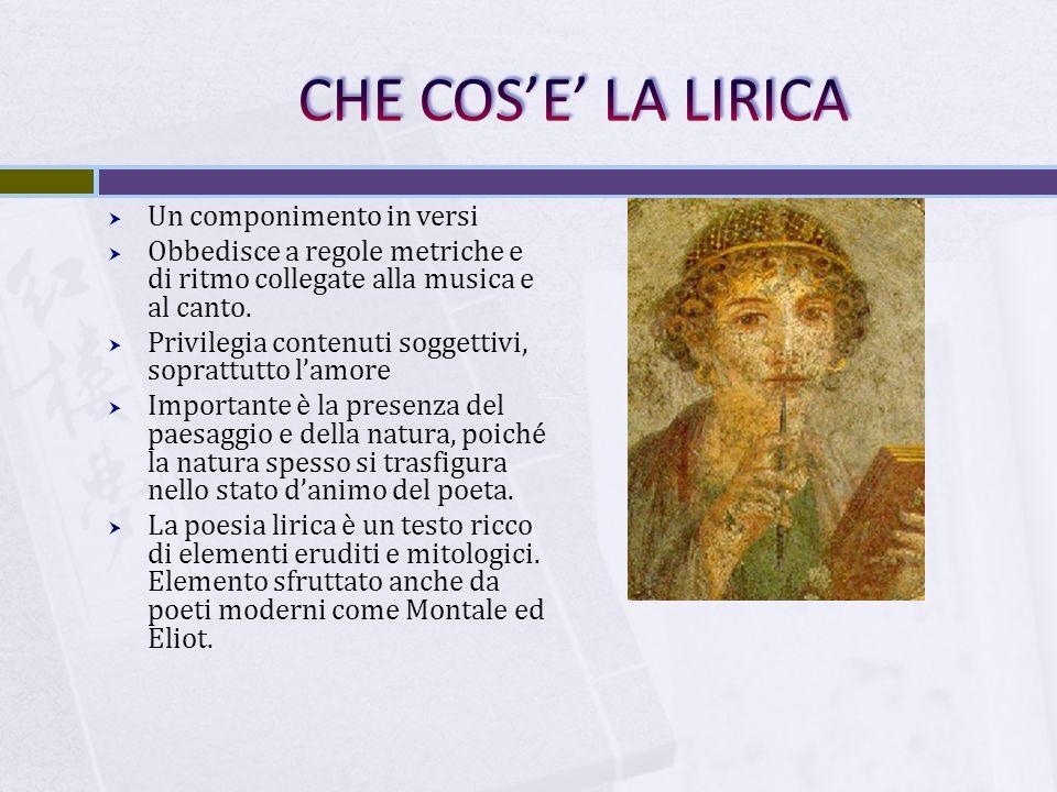  La lirica latina fu un genere derivato dalla poesia ellenistica  A Roma ebbe profonda rielaborazione perché divenne lirica soggettiva e non più di occasione.