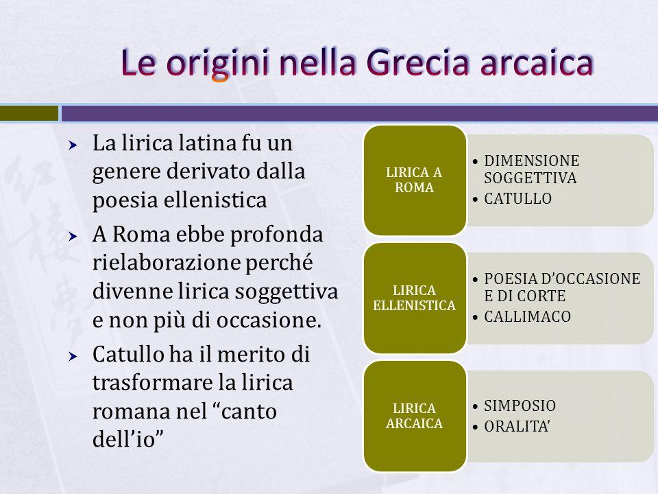  La lirica latina fu un genere derivato dalla poesia ellenistica  A Roma ebbe profonda rielaborazione perché divenne lirica soggettiva e non più di